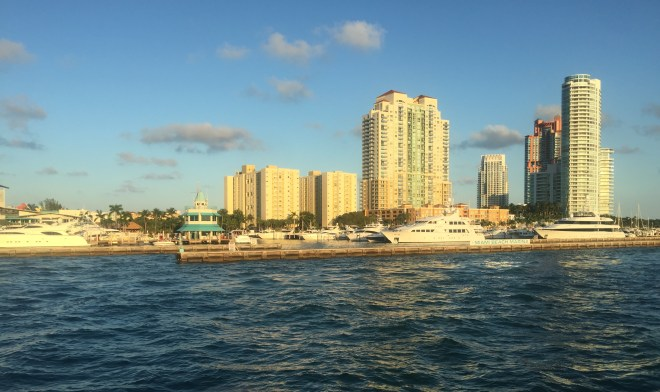 Miami skyline taken from the sea