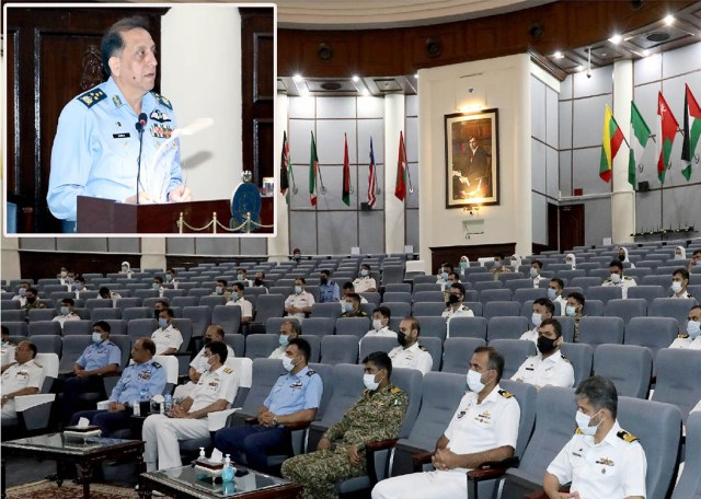 Air Staff Air Chief Marshal Zaheer Ahmed Baber Sidhu addressing course members and faculty of 50th PN Staff