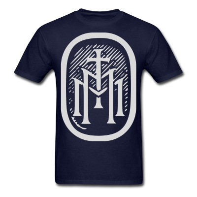 the majestys men mens tmm bold monogram front navy blue tshirt