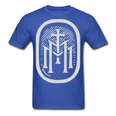 the majestys men mens tmm bold monogram front royal blue tshirt