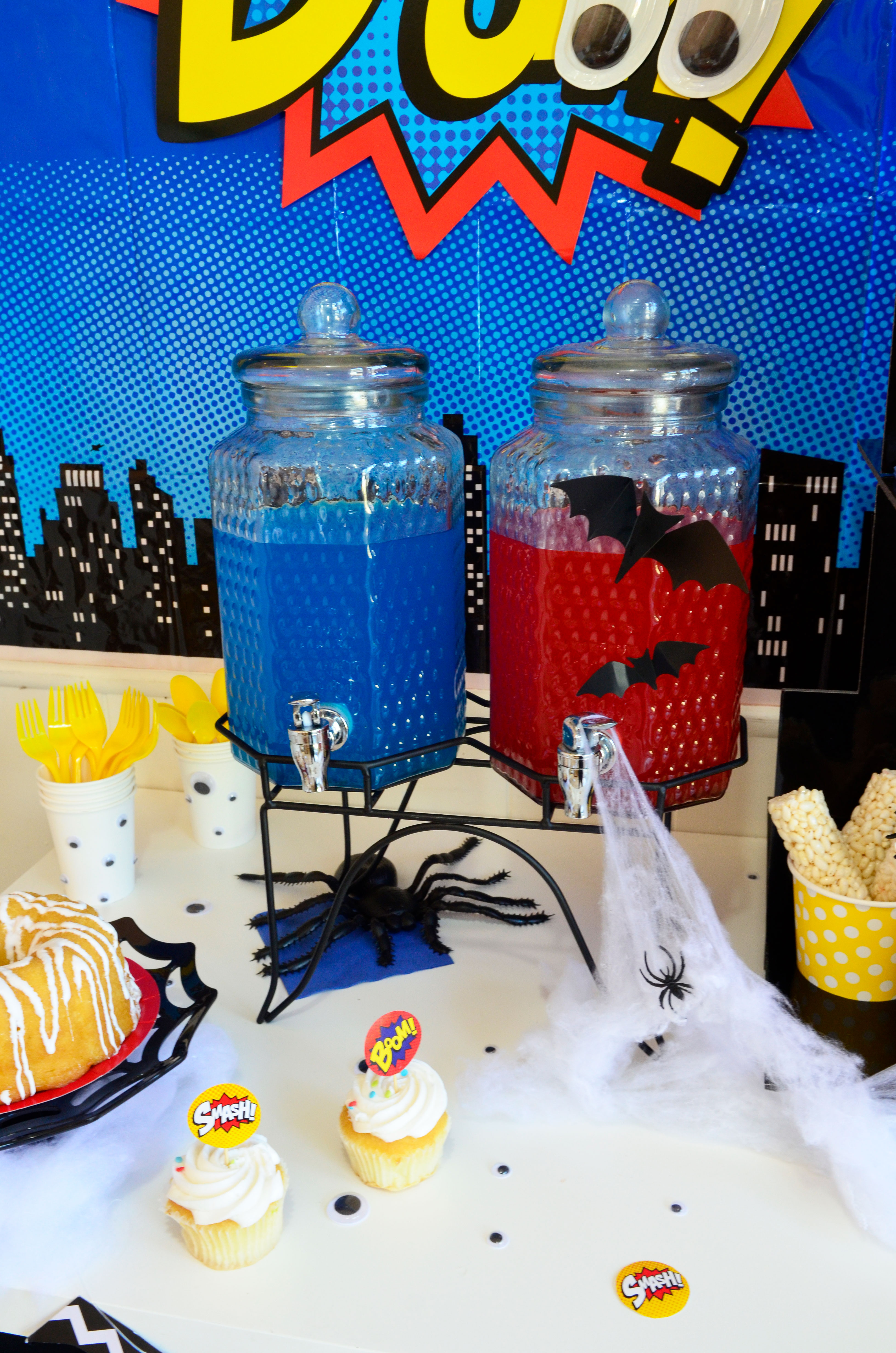 diy superhero oriental Halloween candy bar party treats drink trading flash costume kids boy party the makeover mom spiderman flash
