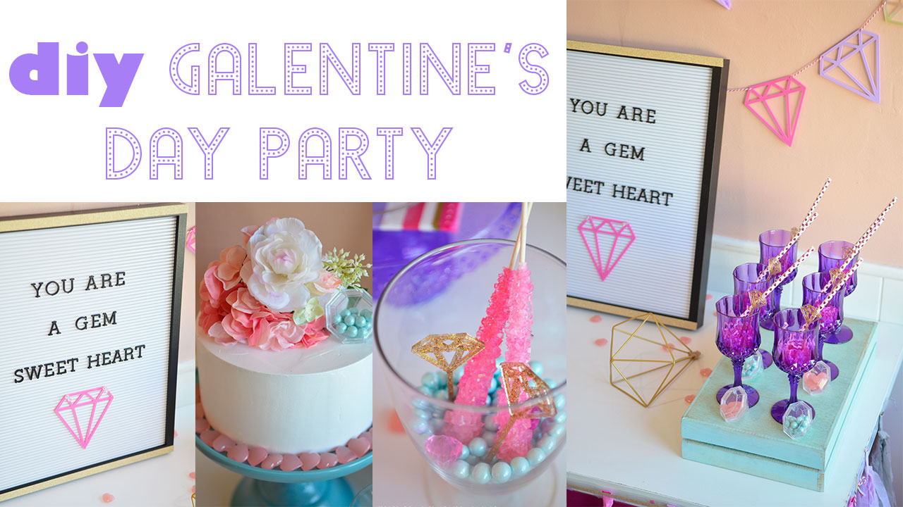 valentine's valentines galentine's galentines day girls friends you're a gem your diamond Party Ideas Decorations diys pink purple the makeover mom blog