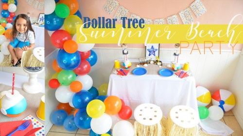 Summer Beach Pool Party Ideas Luau Moana Balloon Garland Dollar Tree Store Nautical Theme