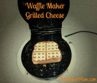 making grilled cheese in a waffle maker
