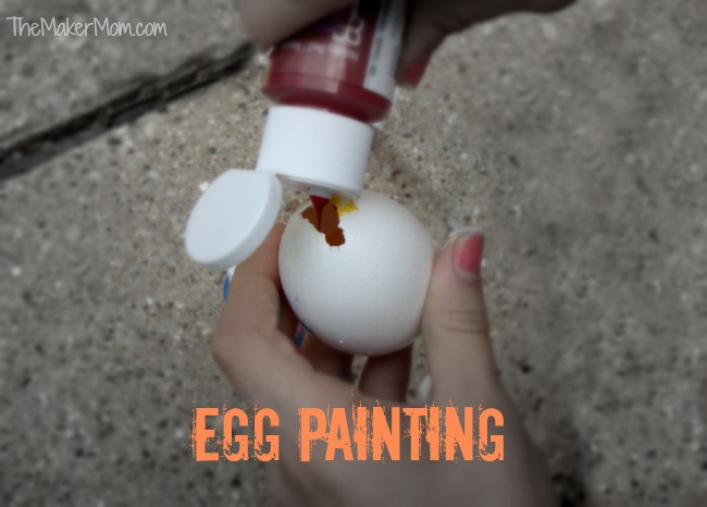 Egg painting. Making art with paint-filled eggs on www.TheMakerMom.com