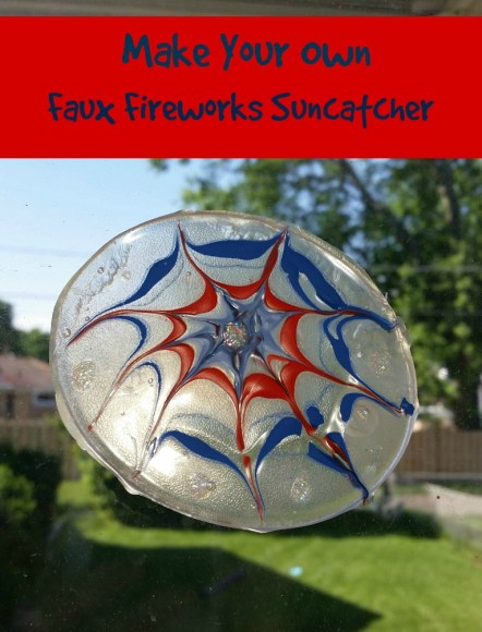DIY Suncatcher. Learn to make a faux fireworks-themed suncatcher at www.themakermom.com.