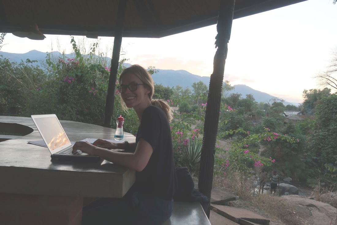 Abi putting data into the laptop - not a bad place for it!