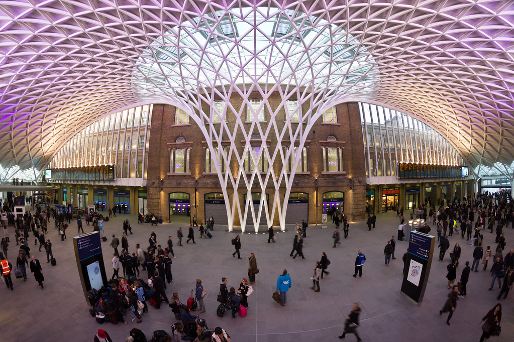 Western concourse at London Kings Cross station. Central postion