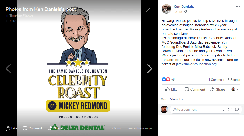A bit more about the Jamie Daniels Foundation's 'Celebrity Roast of Mickey Redmond'