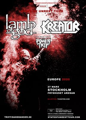Amerikanska Lamb Of God, tyska Kreator och amerikanska Power Trip gör gemensam kväll på Fryshuset Arenan i Stockholm 27 Mars.