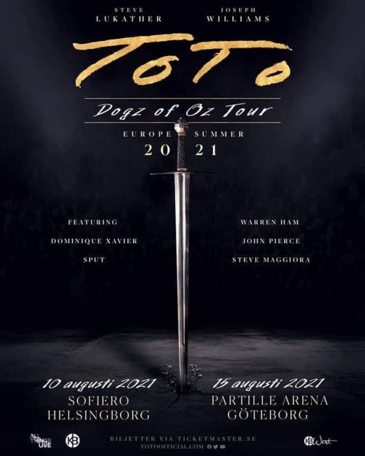 """TOTO till Sverige 2021 med """"Dogz of Oz Tour"""", spelar i Helsingborg 10 augusti och Göteborg 15 augusti!"""
