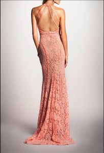 back of Dalia MacPhee coral lace gown