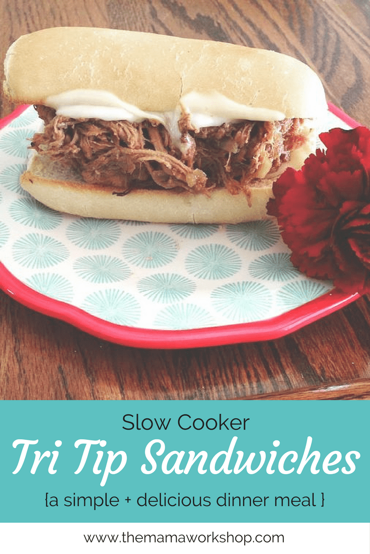 Slow Cooker Tri Tip Sandwiches