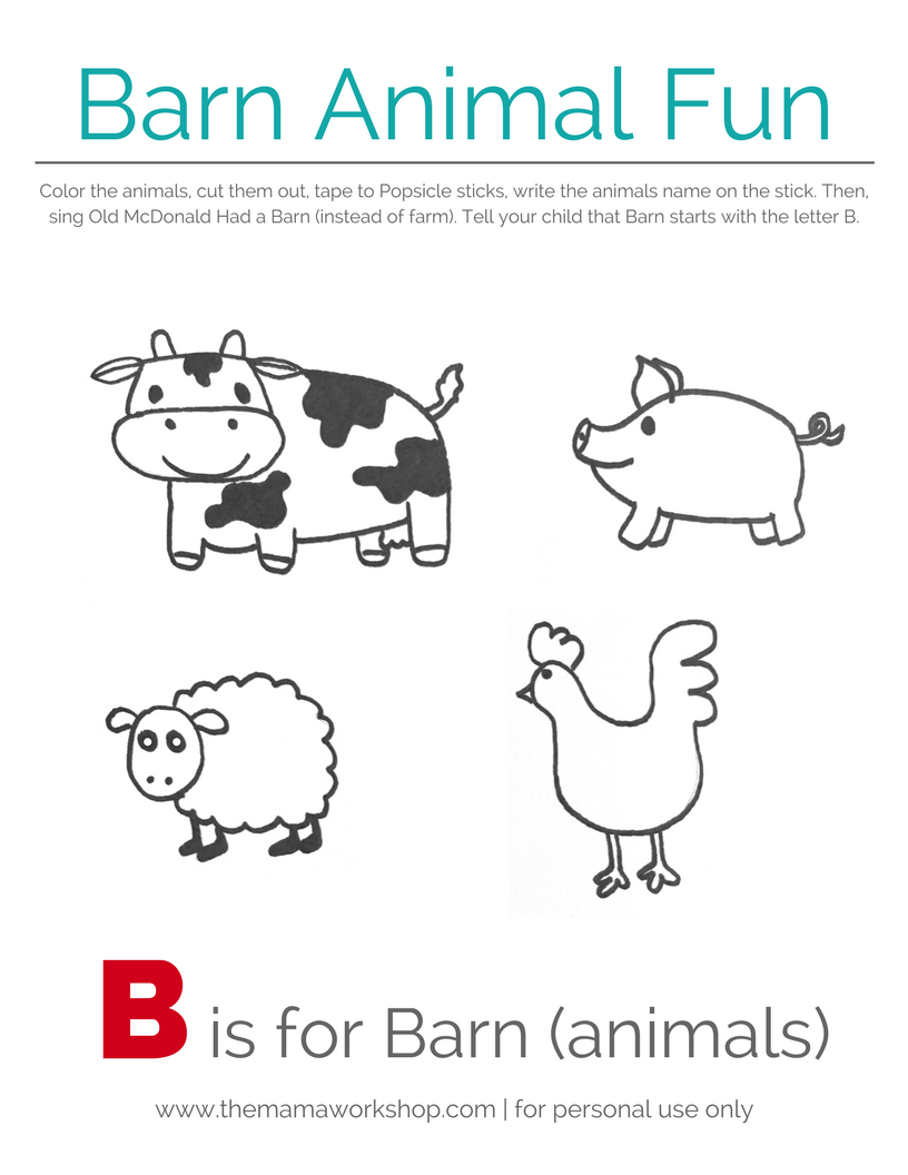 graphic about Barn Printable referred to as Barn Pets Absolutely free Printable The Mama Workshop