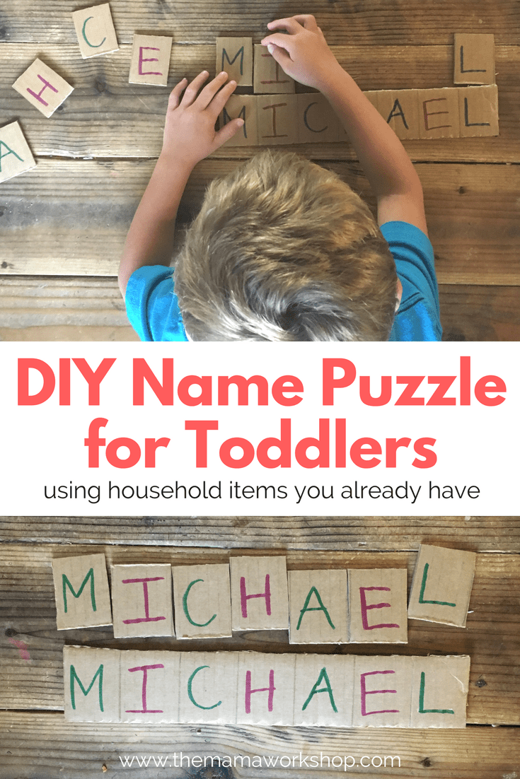 DIY Name Puzzle for Toddlers using household items you have already! Play a game with your toddler to learn to spell his name.