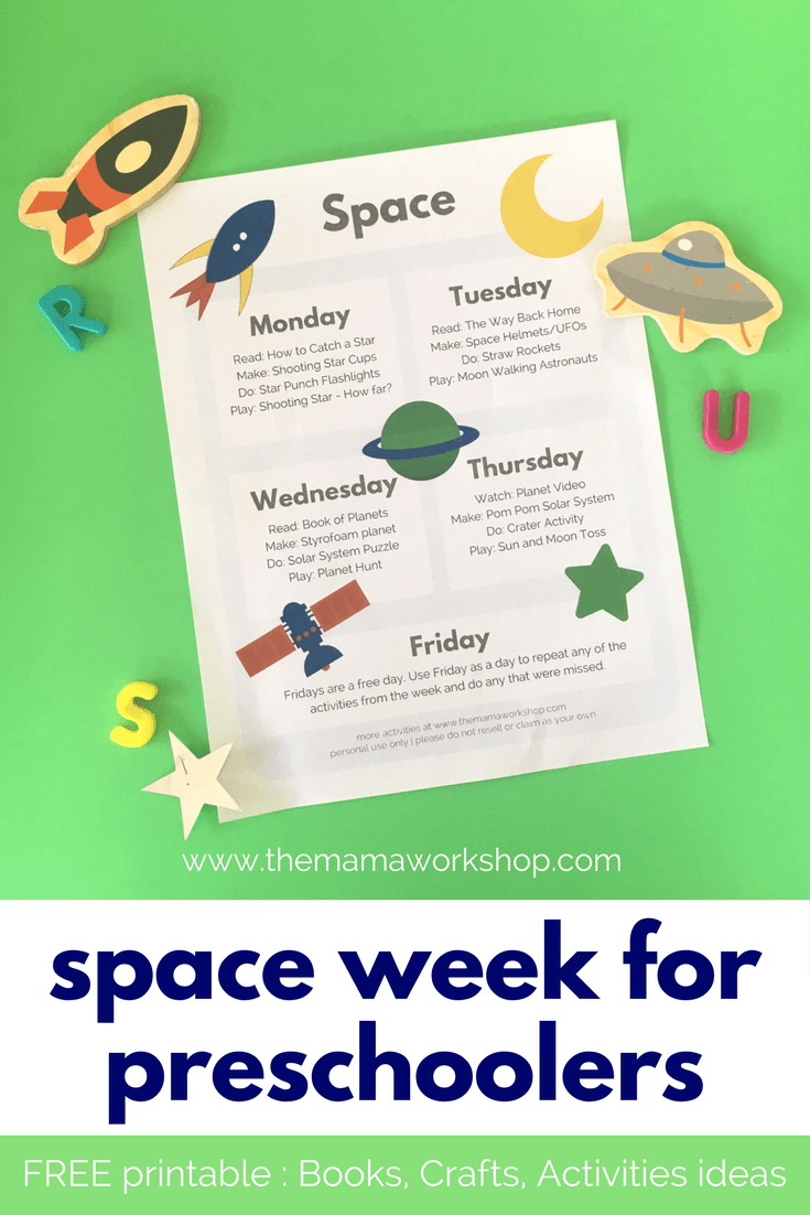 Space Week for Preschoolers. FREE Printable lesson plan with books, crafts and activities ideas..