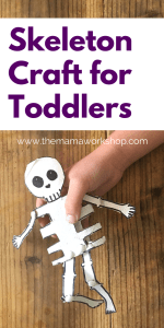 Skeleton Craft for Toddlers using a Cardboard Tube