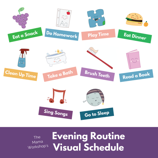 Use these Evening Routine Visual Schedule Cards to help your child stay on task in the evening. Includes 10 colorful and cheerful cards. Instant Download.