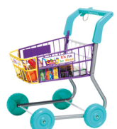 toy shopping trolley with food