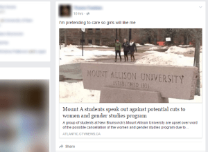 NB men rally to impress girls by rallying to save Mount A's women and gender studies program