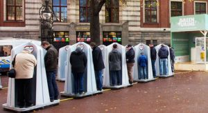 Saint John collecting tourist urine