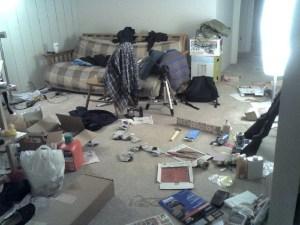 Friends watch in horror as newly single man's apartment degenerates into slum