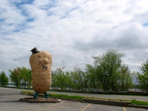Protesters call for removal of Harvey's Big Potato Man statue