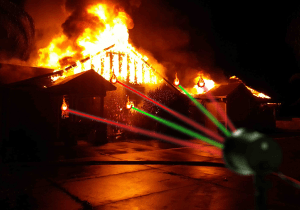 Christmas laser projector goes haywire, incinerateshouse