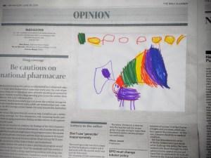 BNI staff asked to bring in kids' drawings to be repurposed as editorial cartoons