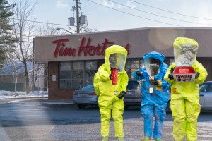 Customers now required to wear hazmat suits at Tim Hortons