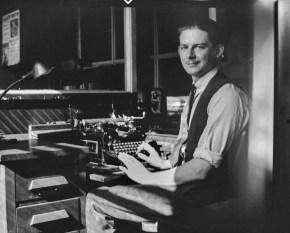 JPJ at his typewriter