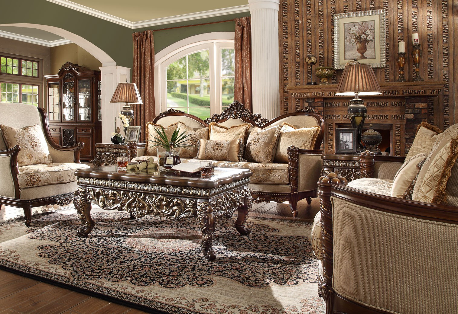 HD 92 Homey Design Upholstery Living Room Set Victorian