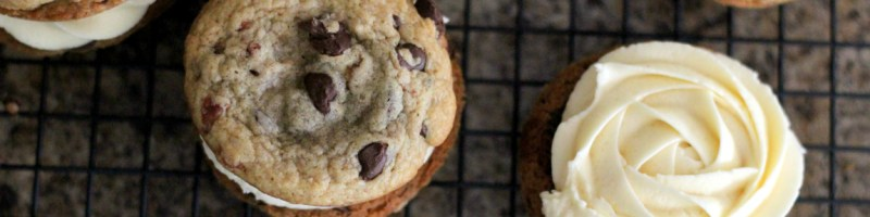 Bacon Chocolate Chip Sandwich Cookies with Maple Buttercream Frosting