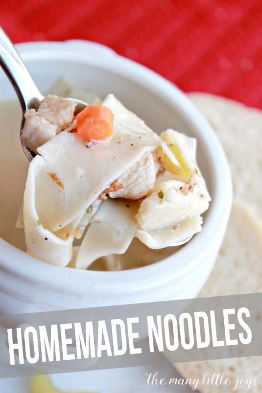 Simple, yummy homemade noodles. These totally transform chicken noodle soup into something completely delectable. And they're seriously easy to make.