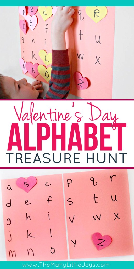Want a fun Valentine's activity to do with your preschooler? Try a heart-themed alphabet treasure hunt!