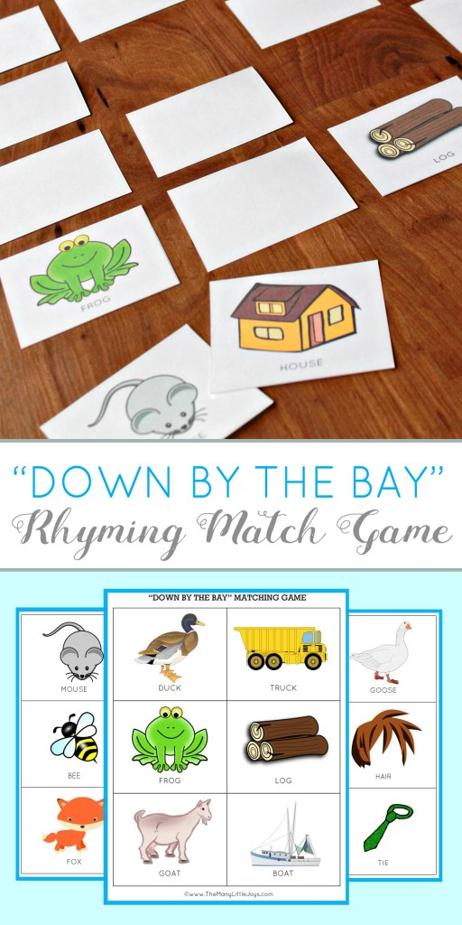 "Teaching kids toTeaching kids to rhyme is not only an essential literacy skill--it can be fun, too! This free printable matching game based on the popular song, ""Down by the Bay"" is a great way to introduce preschoolers to the concept of rhyme."