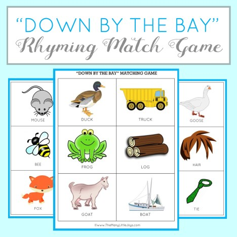 "Teaching kids to rhyme is a great way to improve reading skills. Here's a fun preschool learning activity and FREE printable game based on the popular kids' song ""Down By the Bay""."