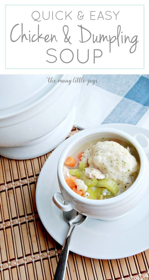 This cozy chicken and dumpling soup is a great, easy meal on a cloudy day when you need some good, healthy comfort food.