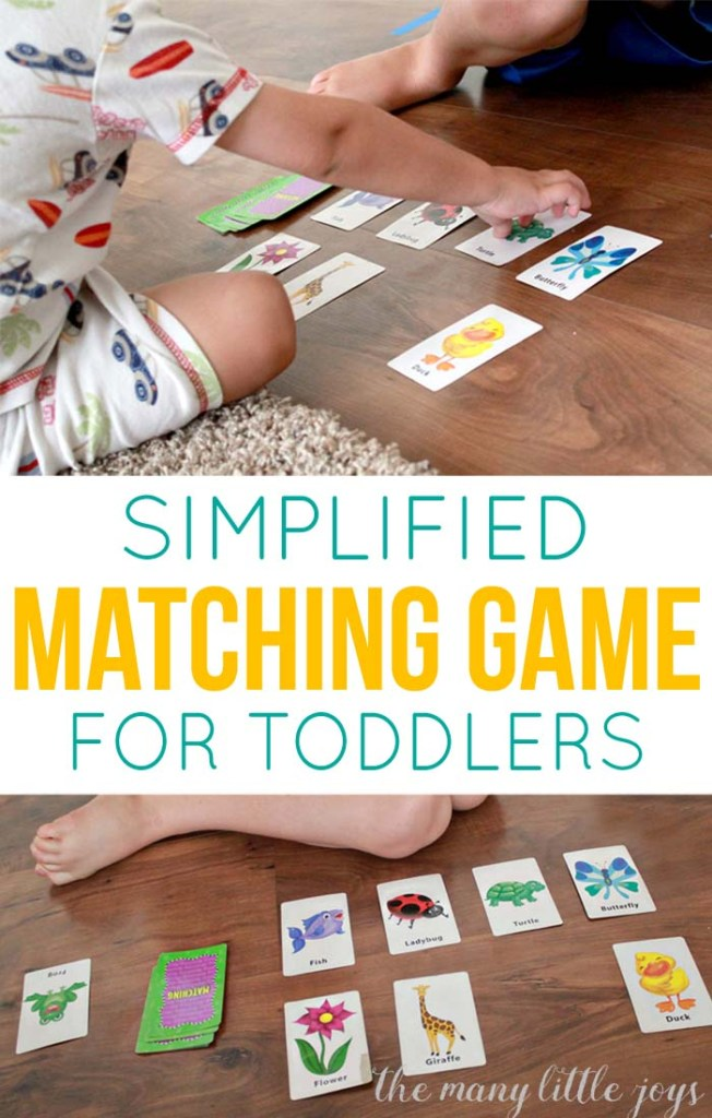 """This simplified version of the classic game of """"match"""" (or memory) is a fun activity for young toddlers that will help to develop vocabulary and increase concentration."""