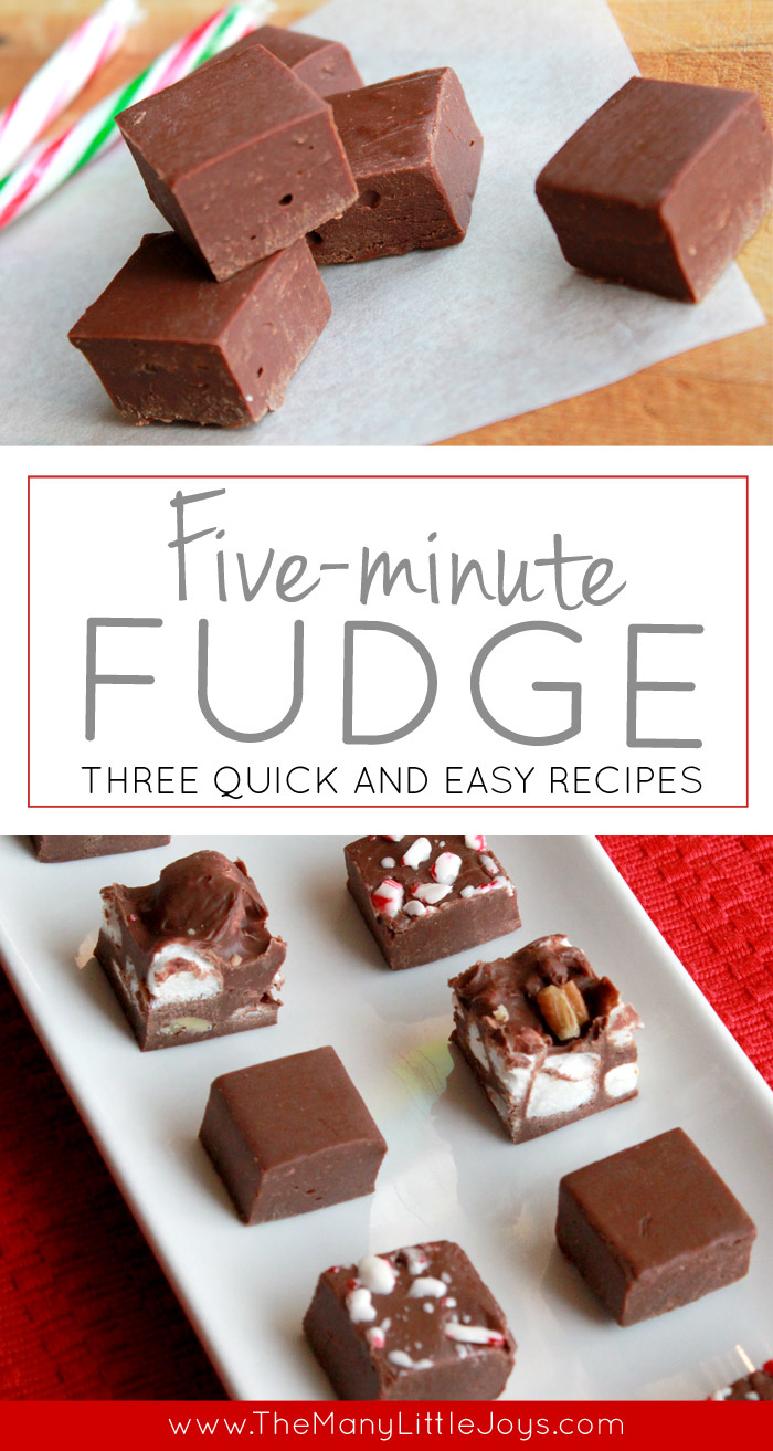 Need a quick treat to take to a Christmas party, or a last-minute gift for a neighbor? Make this easy fudge recipe in five minutes. You can dress it up by adding mix-ins, or keep it simple with only two ingredients. No one will know how easy it was to make!