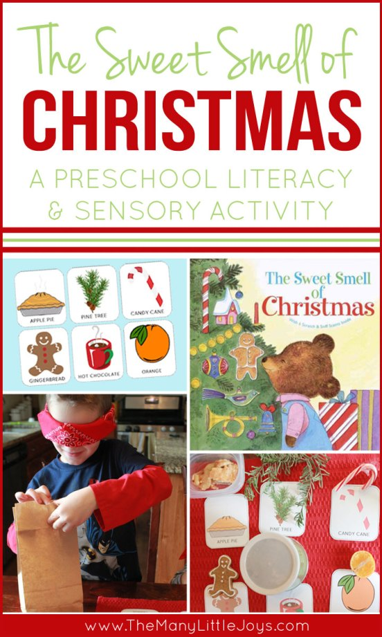 This simple Christmas preschool activity with The Sweet Smell of Christmas is a fun way to get kids thinking about the signs and symbols of Christmas while building vocabulary, practicing matching skills, and engaging their senses.