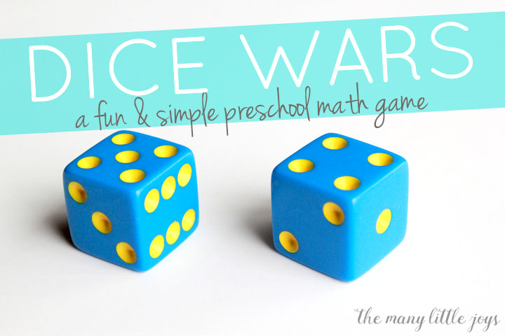 "This simple and fun math game is a great way to help preschoolers (and older kids, too!) practice counting, addition, and other basic math skills while competing to win the ""dice wars""."