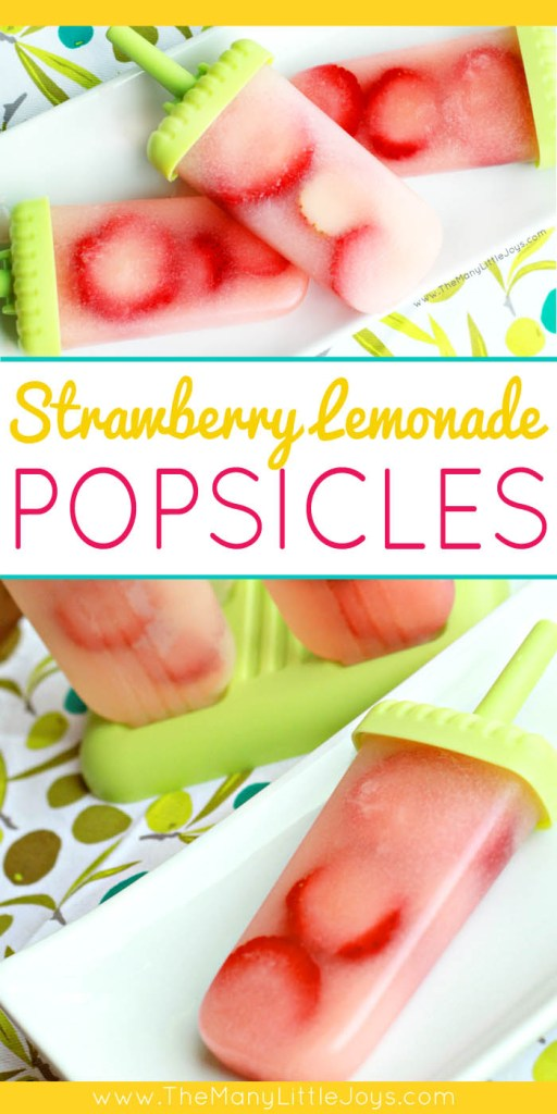 This super simple recipe for strawberry lemonade popsicles is perfect for getting kids involved in the kitchen and cooling down on hot summer days.