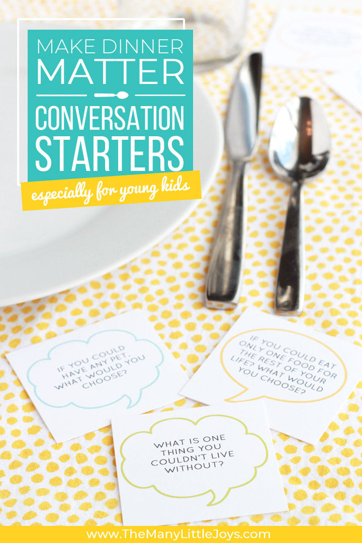 These printable conversation starters for families are a perfectly simple--yet effective--way for families to make-over dinnertime and builder stronger relationships.