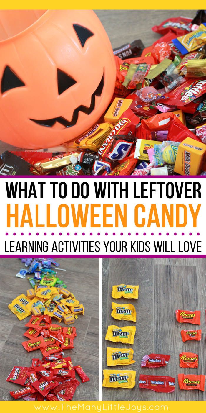 Now that Halloween is over, what are you supposed to DO with all those sweets? If you're overwhlemed by the gobs of leftover Halloween candy in your pantry, try out these simple learning activities to give all that candy a new and noble purpose!