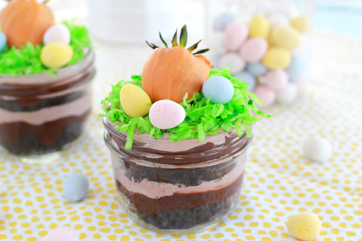 Reminiscent of the kid favorite dirt cups...but nice enough to serve to adults, too, these fun and festive mini trifles are a perfect Easter dessert for your holiday gathering.