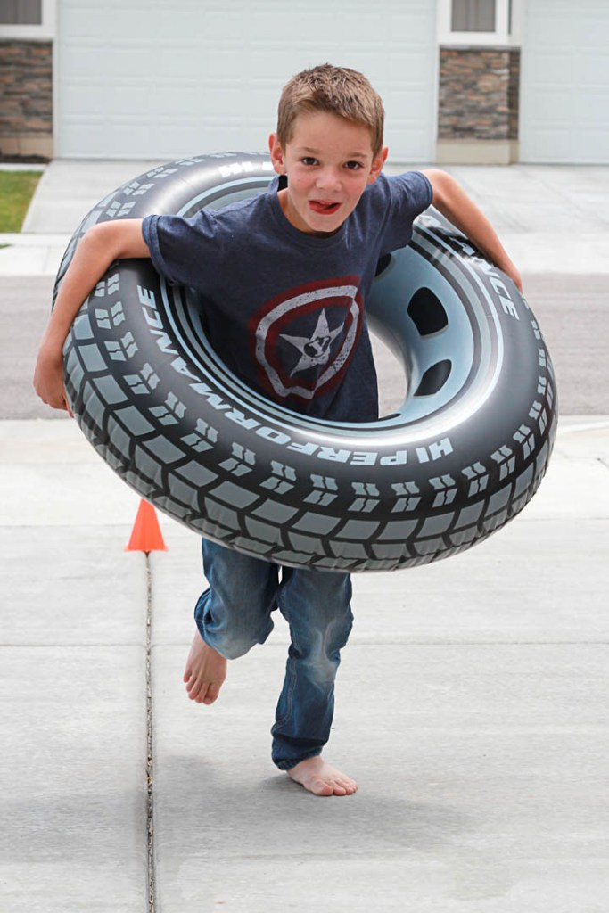 Hot Wheels birthday party games and activities - tire race