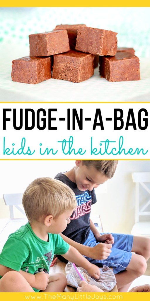 This simple fudge in a bag is a perfect opportunity to get kids in the kitchen. A handful of ingredients, a plastic baggie, and some good ol' elbow grease will yield a tasty treat kids can make all by themselves!