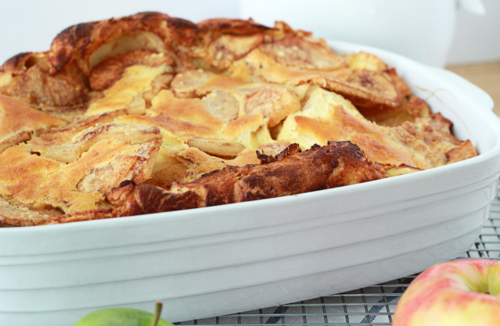 """This caramel apple German pancake is a sweet twist on the classic breakfast recipe. It's a perfect """"fancy"""" breakfast for special occasions that takes minimal extra effort."""