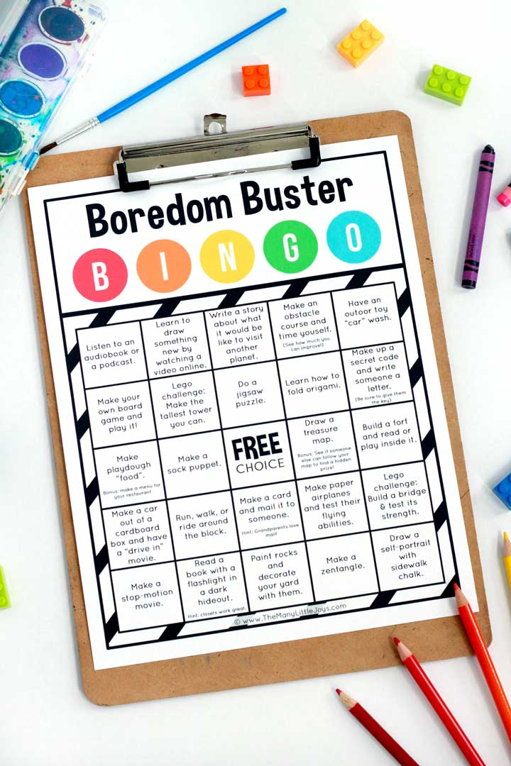 This free printable boredom buster Bingo game is a fun way to encourage independent play during daily quiet time or while parents work from home.